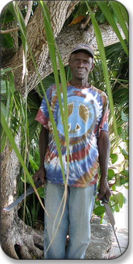Bush medicine practitioner Mr. Forbes at San Salvador, Bahamas